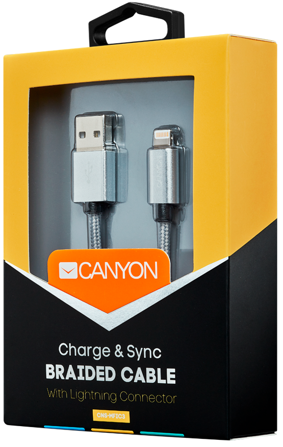 Кабель Canyon CNS-MFIC3DG USB - Lightning MFI (темно-серый)