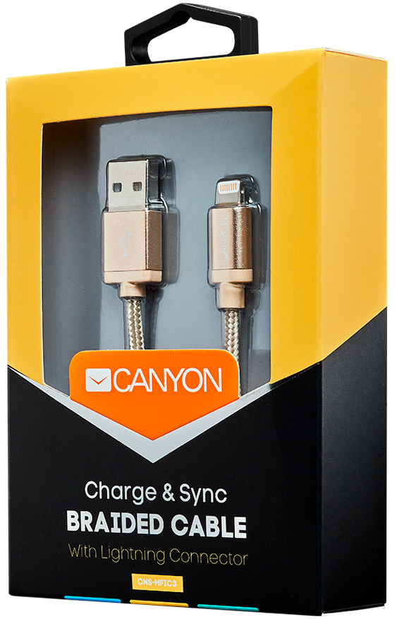 Кабель Canyon CNS-MFIC3GO USB - Lightning MFI (золотой)